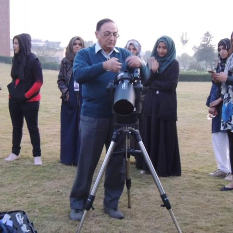 Dr Farrukh setting up his telescope